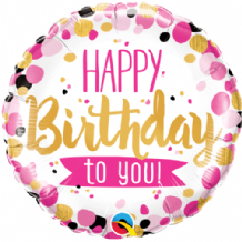 "Birthday To You Pink & Gold Foil Balloon (18"") 1pc"